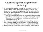 covenants against assignment or subletting73