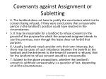 covenants against assignment or subletting76