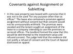 covenants against assignment or subletting77