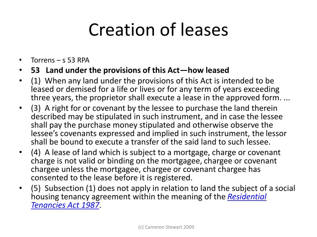 Creation of leases
