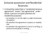 exclusive possession and residential tenancies