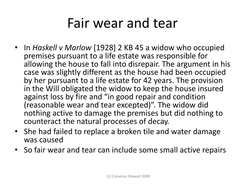 Fair wear and tear