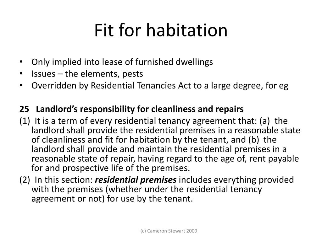 Fit for habitation