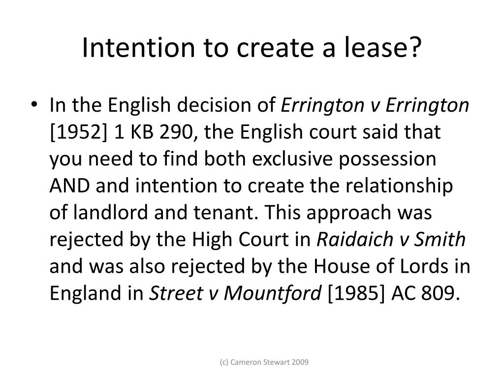 Intention to create a lease?