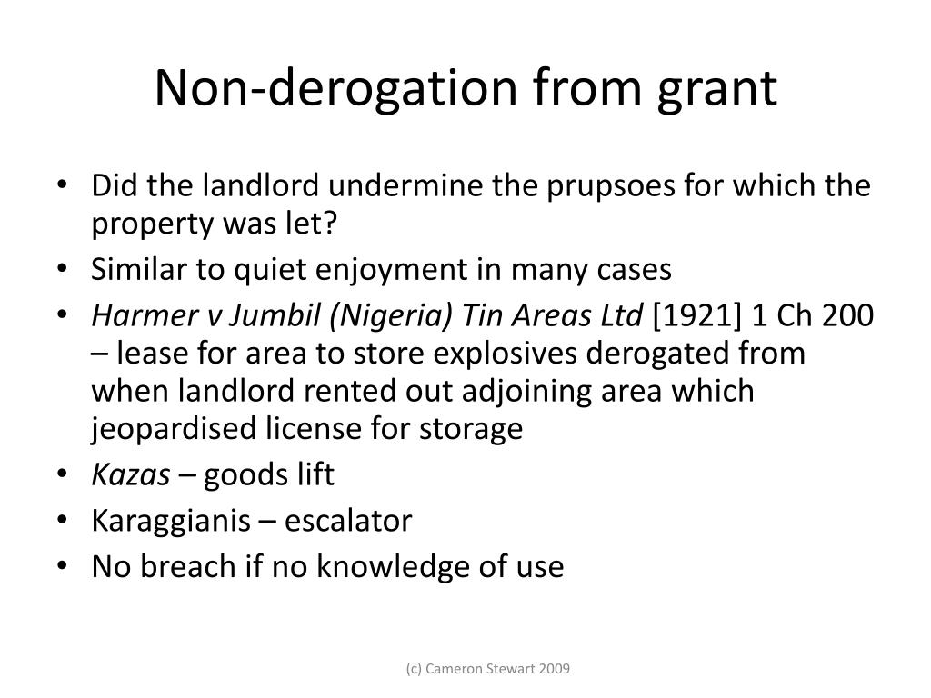 Non-derogation from grant