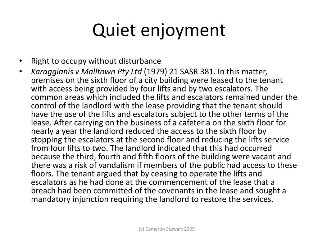 Quiet enjoyment