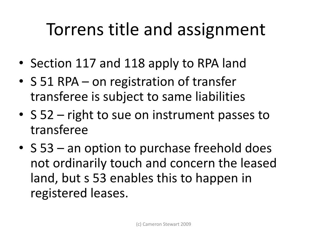 Torrens title and assignment