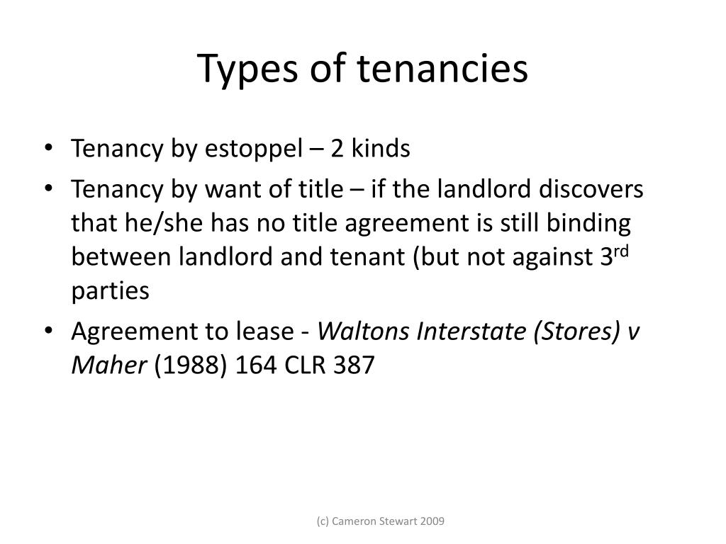 Types of tenancies