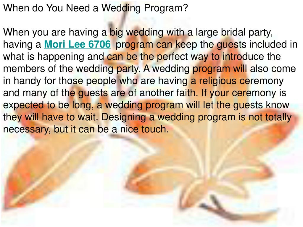 When do You Need a Wedding Program?