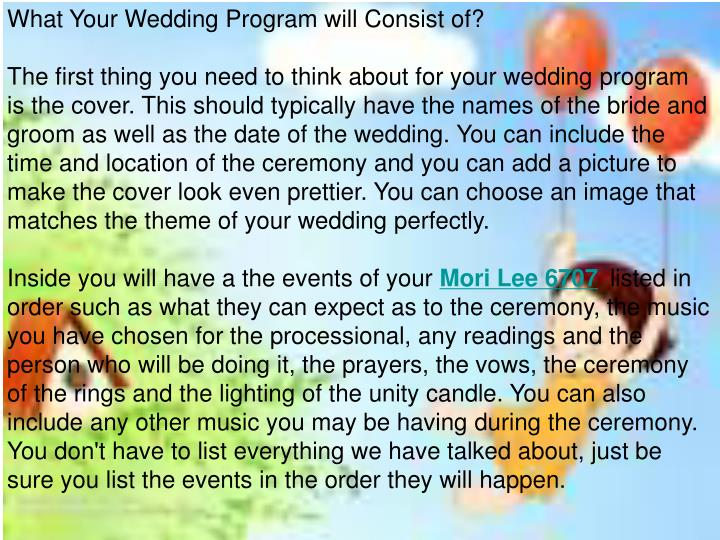 What Your Wedding Program will Consist of?