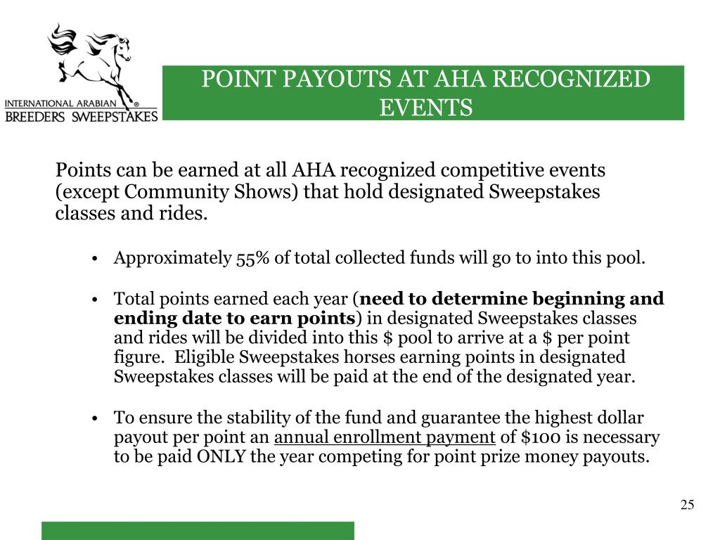 Points can be earned at all AHA recognized competitive events (except Community Shows) that hold designated Sweepstakes classes and rides.