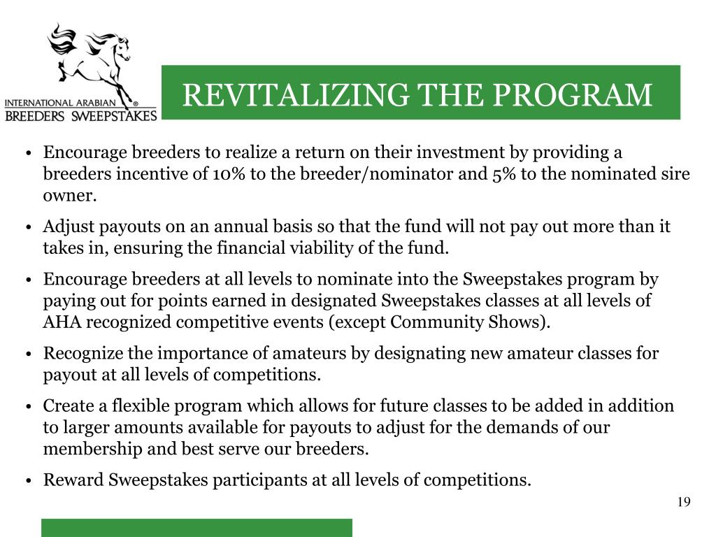Encourage breeders to realize a return on their investment by providing a breeders incentive of 10% to the breeder/nominator and 5% to the nominated sire owner.