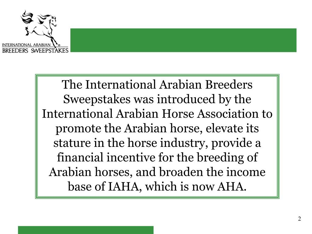 The International Arabian Breeders Sweepstakes was introduced by the International Arabian Horse Association to promote the Arabian horse, elevate its stature in the horse industry, provide a financial incentive for the breeding of Arabian horses, and broaden the income base of IAHA, which is now AHA.