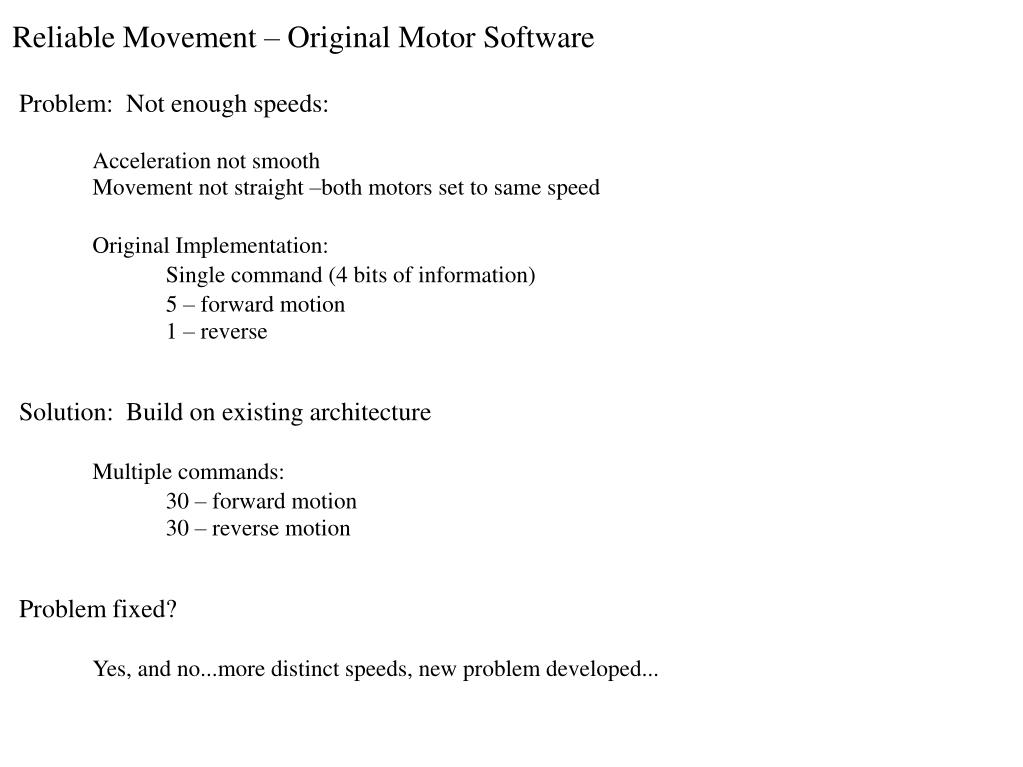 Reliable Movement – Original Motor Software