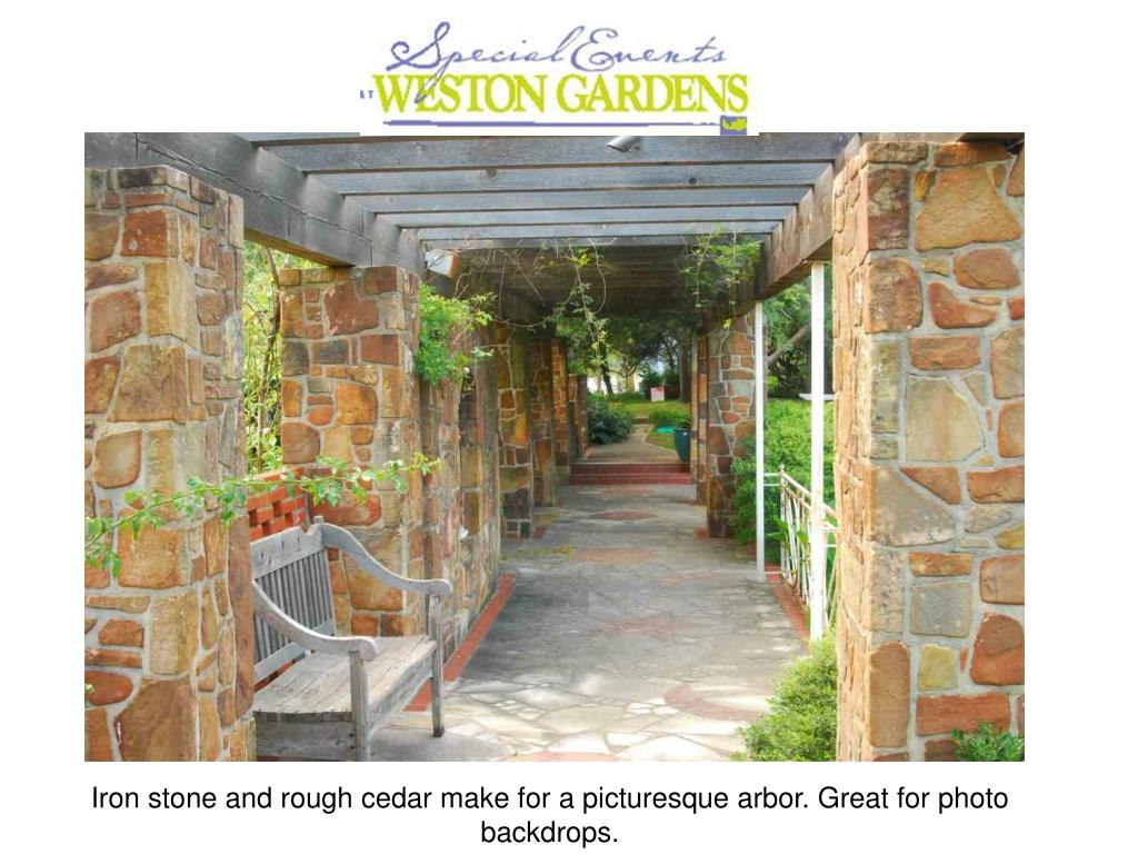 Iron stone and rough cedar make for a picturesque arbor. Great for photo backdrops.