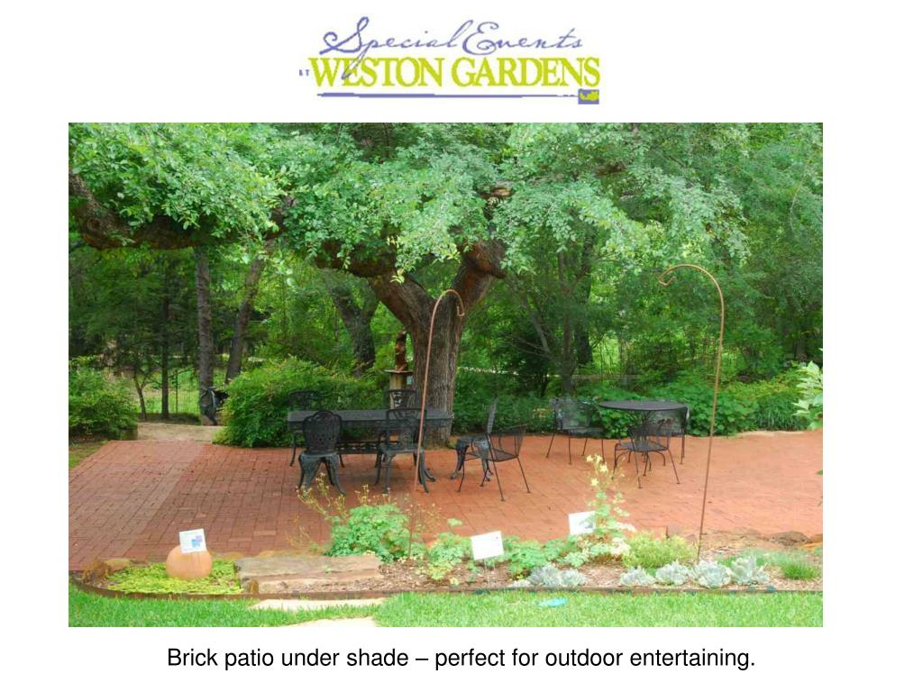 Brick patio under shade – perfect for outdoor entertaining.