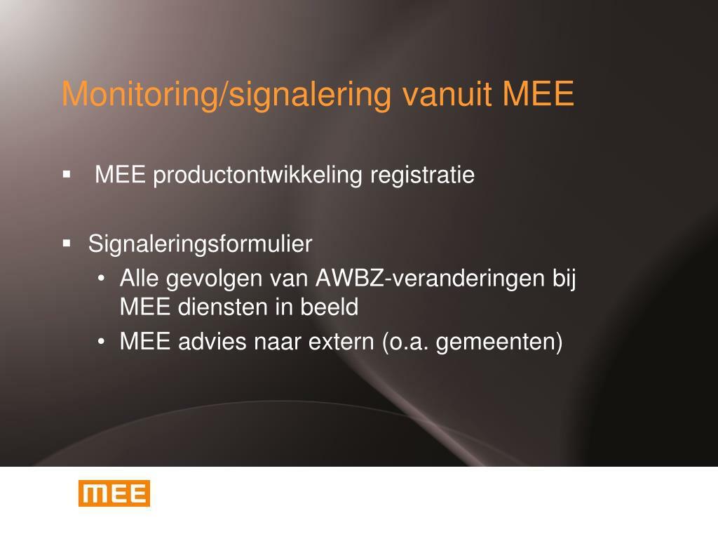 Monitoring/signalering vanuit MEE