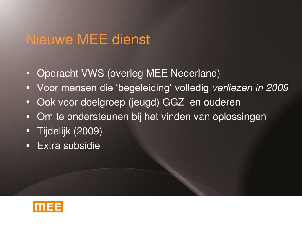 Nieuwe MEE dienst