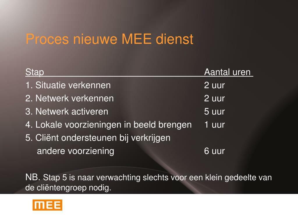 Proces nieuwe MEE dienst