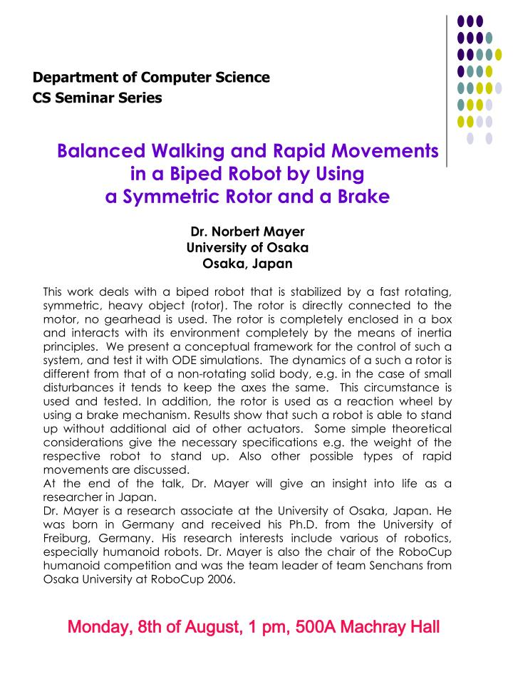 Balanced Walking and Rapid Movements