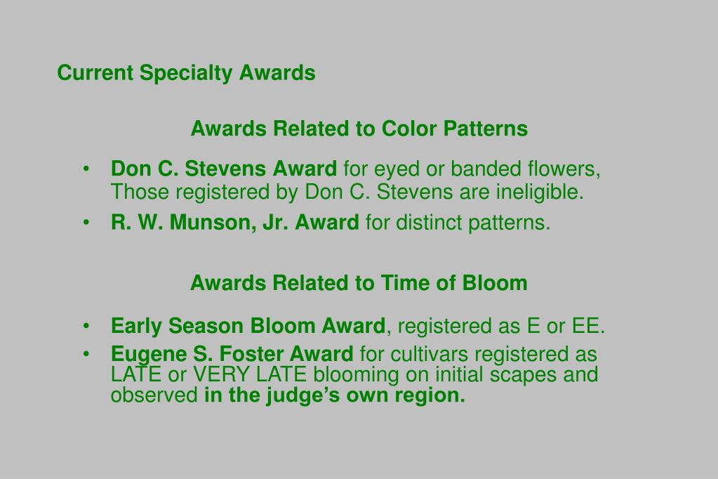 Current Specialty Awards