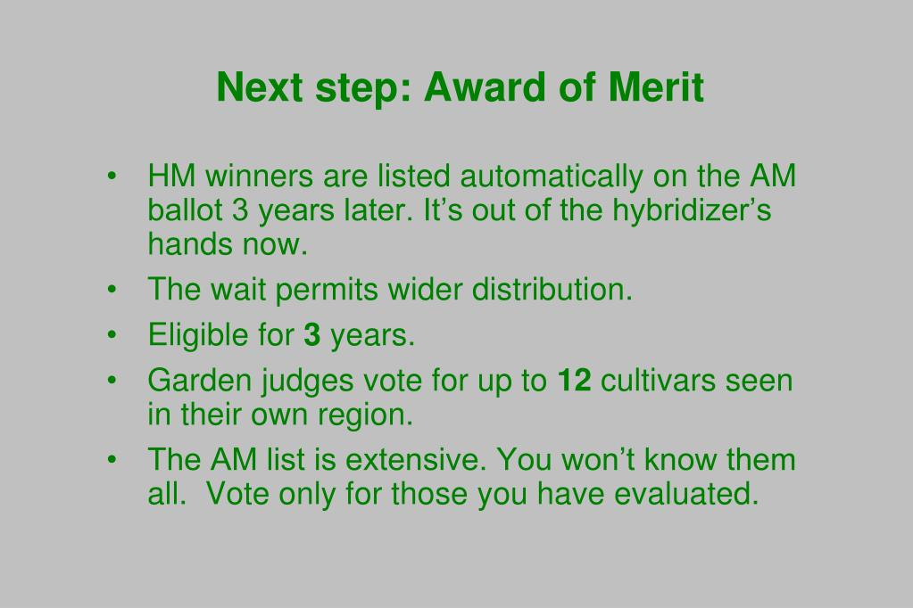 Next step: Award of Merit