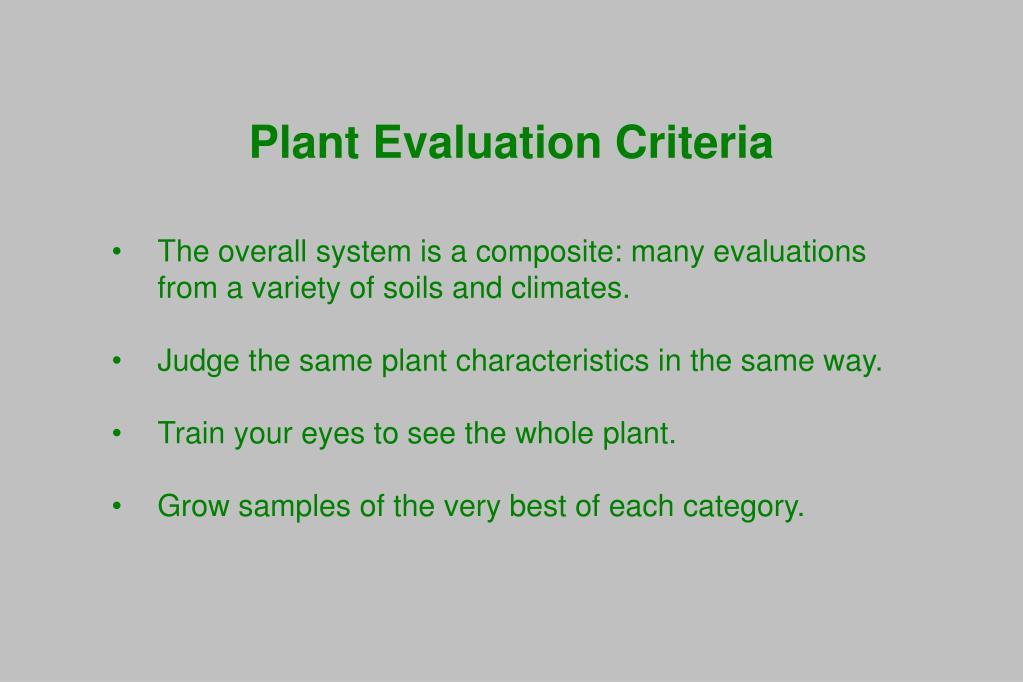 Plant Evaluation Criteria