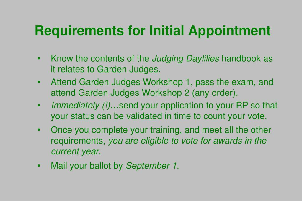 Requirements for Initial Appointment