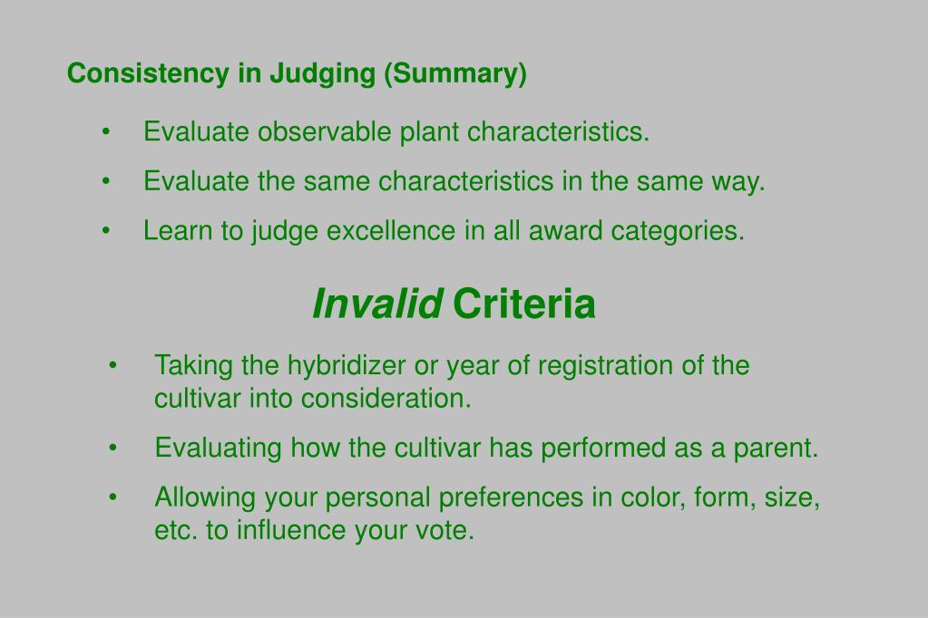 Consistency in Judging (Summary)