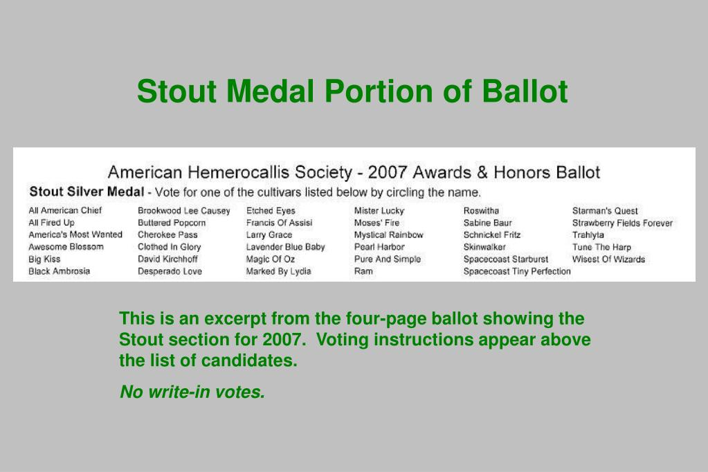 Stout Medal Portion of Ballot