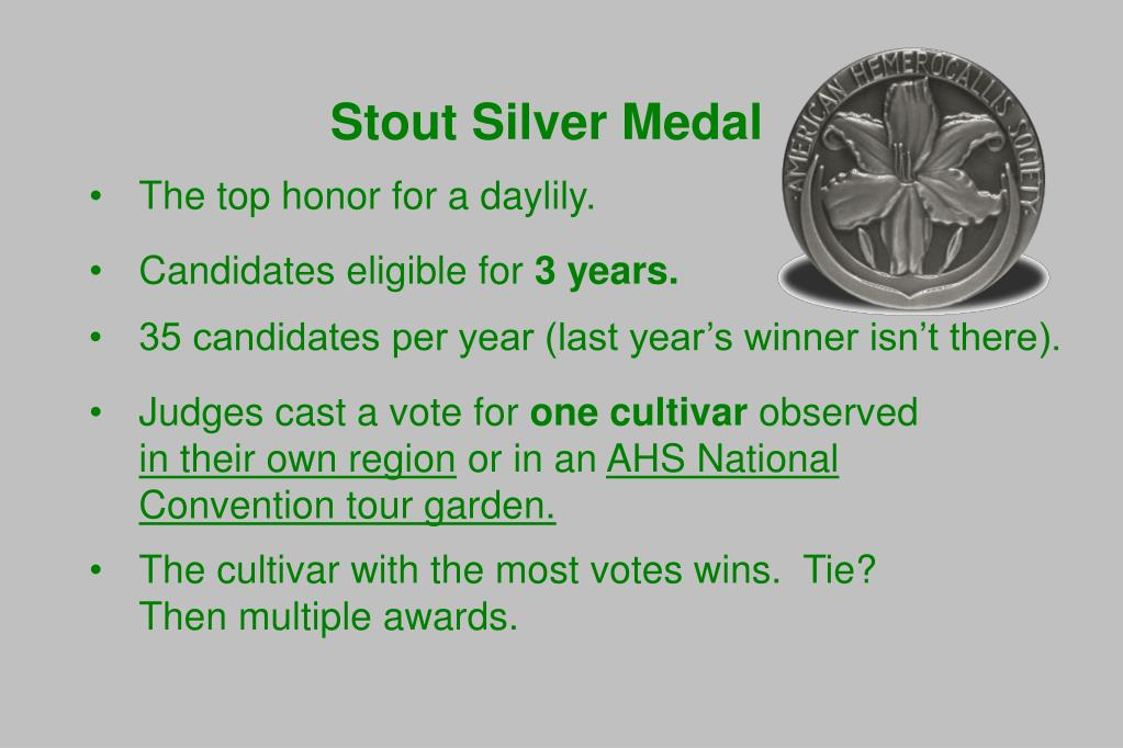 Stout Silver Medal