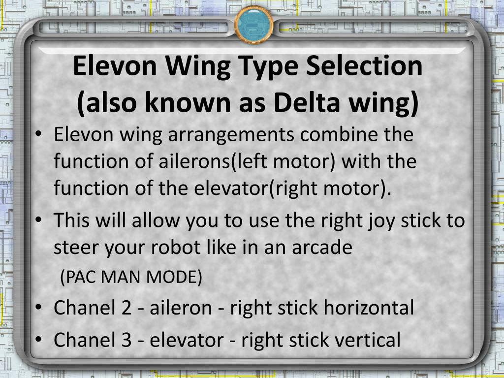 Elevon Wing Type Selection