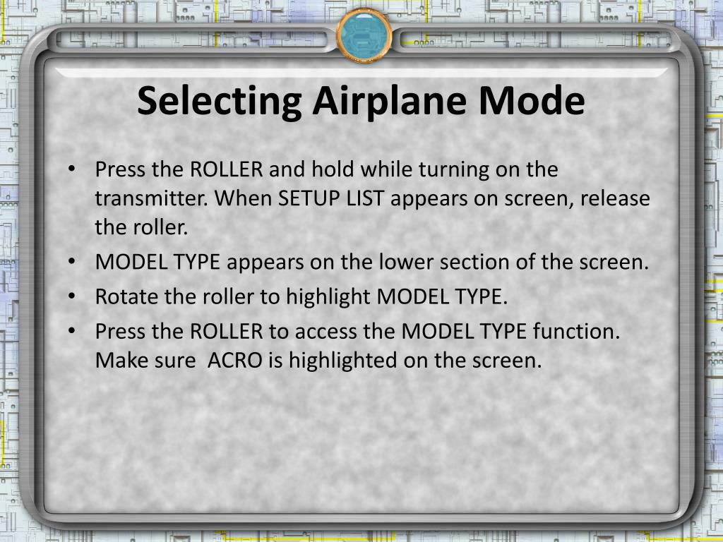 Selecting Airplane Mode