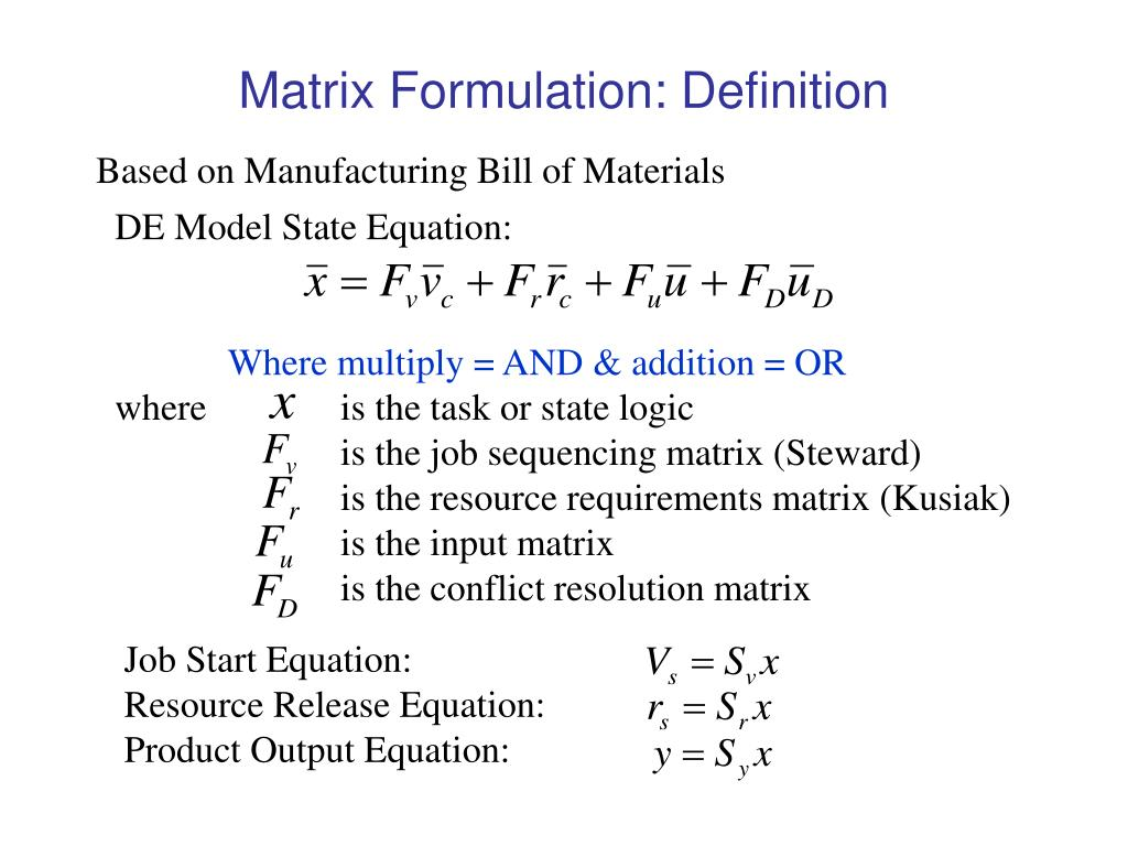 Matrix Formulation: Definition