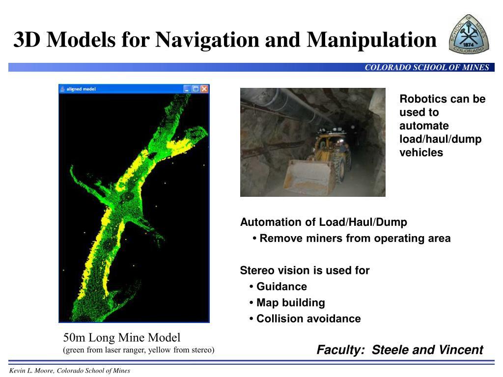 3D Models for Navigation and Manipulation