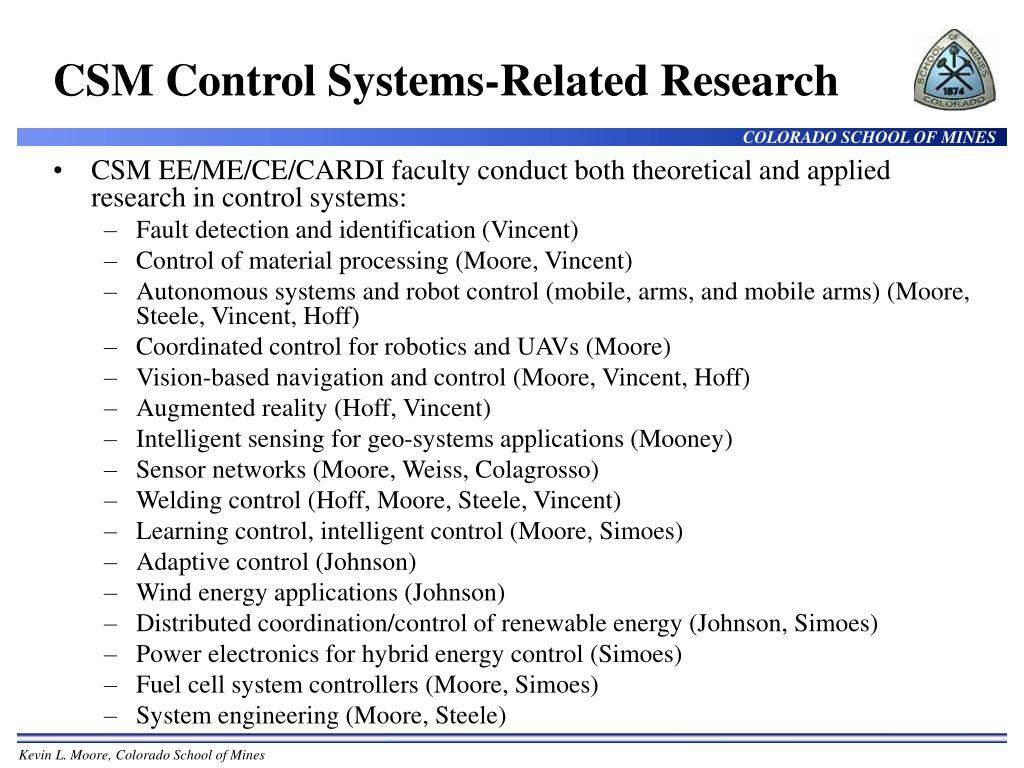 CSM Control Systems-Related Research