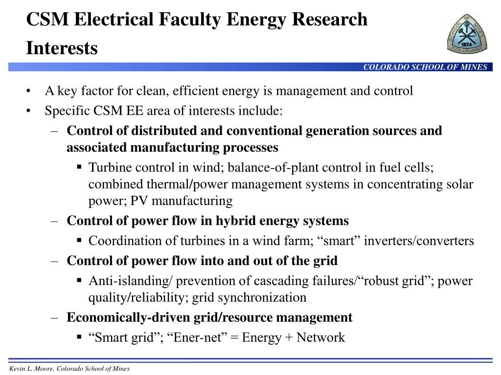 CSM Electrical Faculty Energy Research Interests