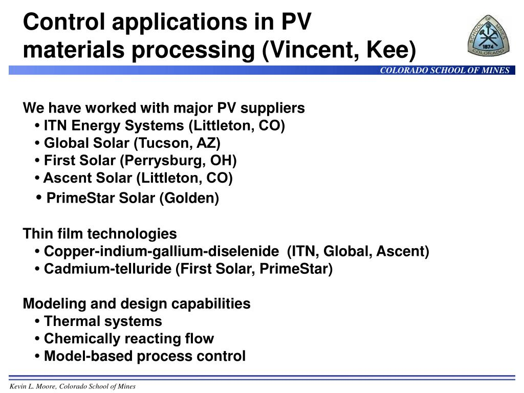 Control applications in PV materials processing (Vincent, Kee)