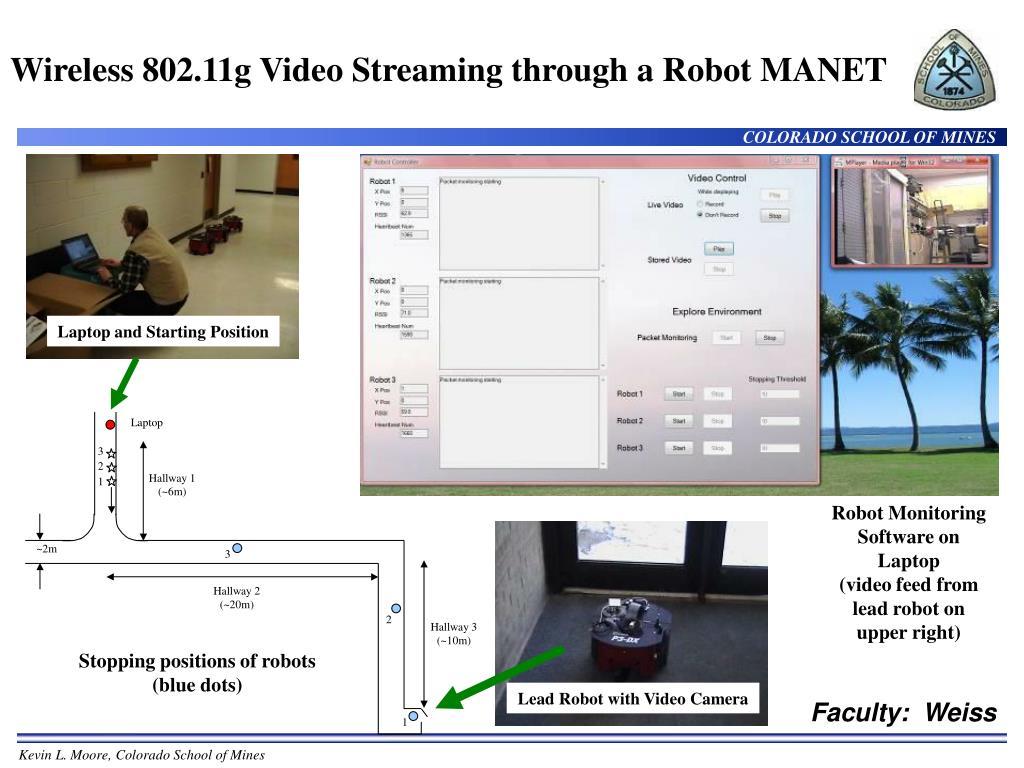 Wireless 802.11g Video Streaming through a Robot MANET