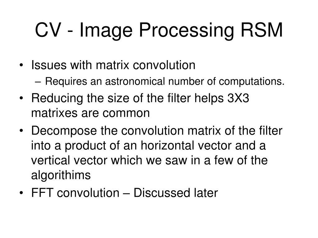 CV - Image Processing RSM