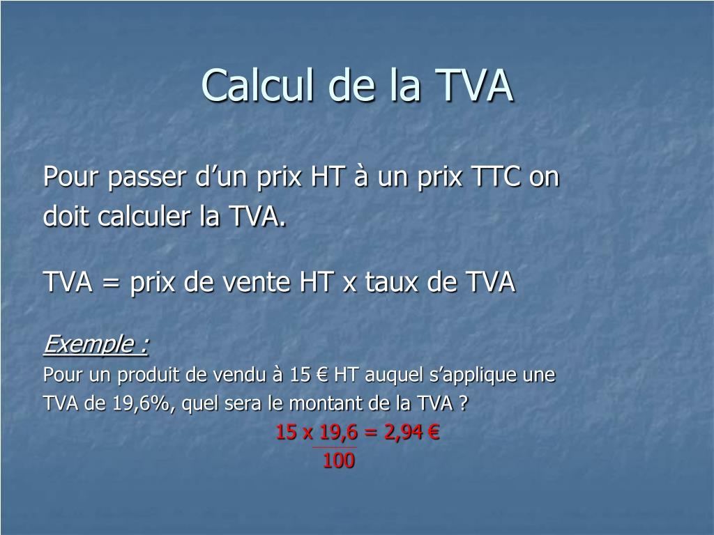 Calcul de la TVA