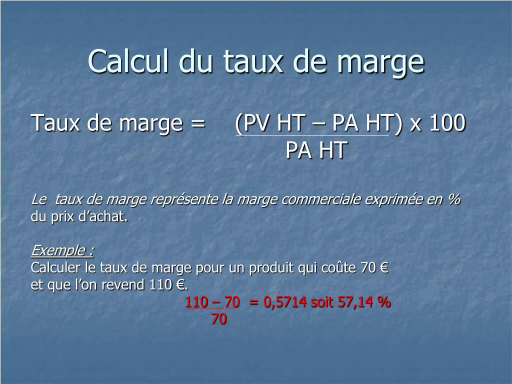 Calcul du taux de marge
