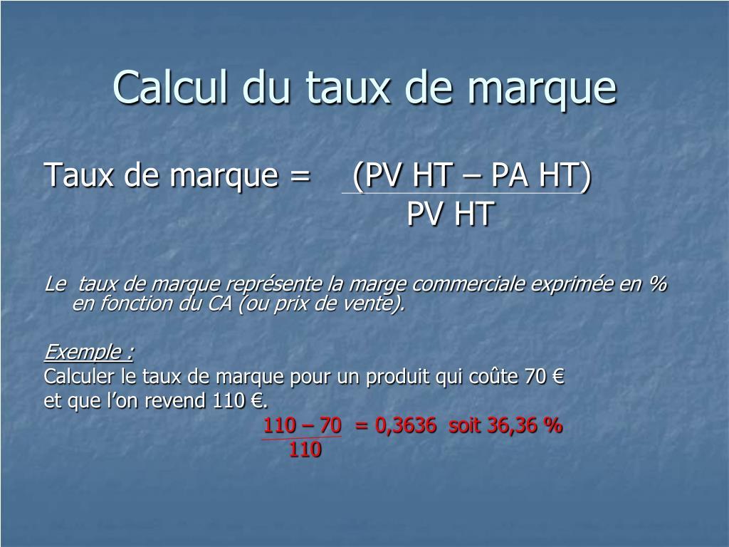 Calcul du taux de marque