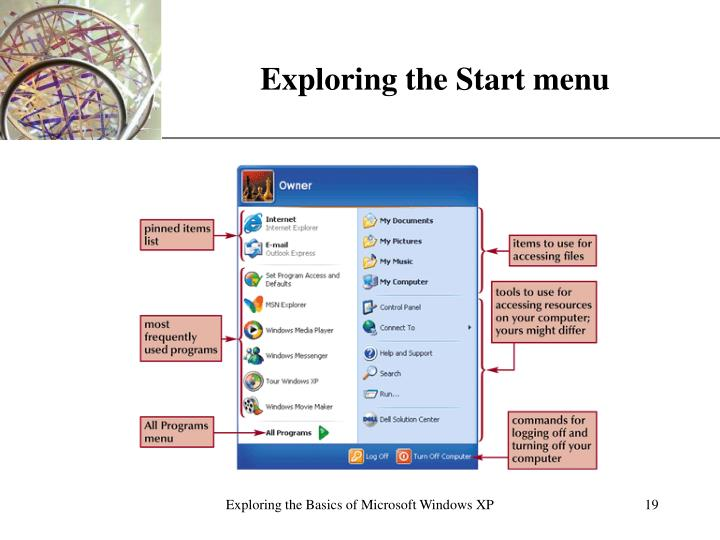Exploring the Start menu