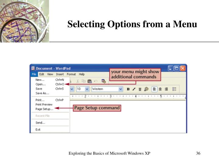 Selecting Options from a Menu