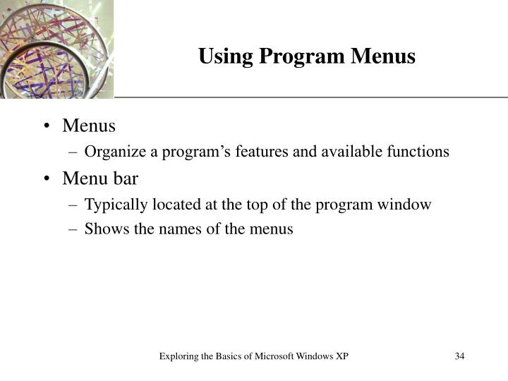 Using Program Menus