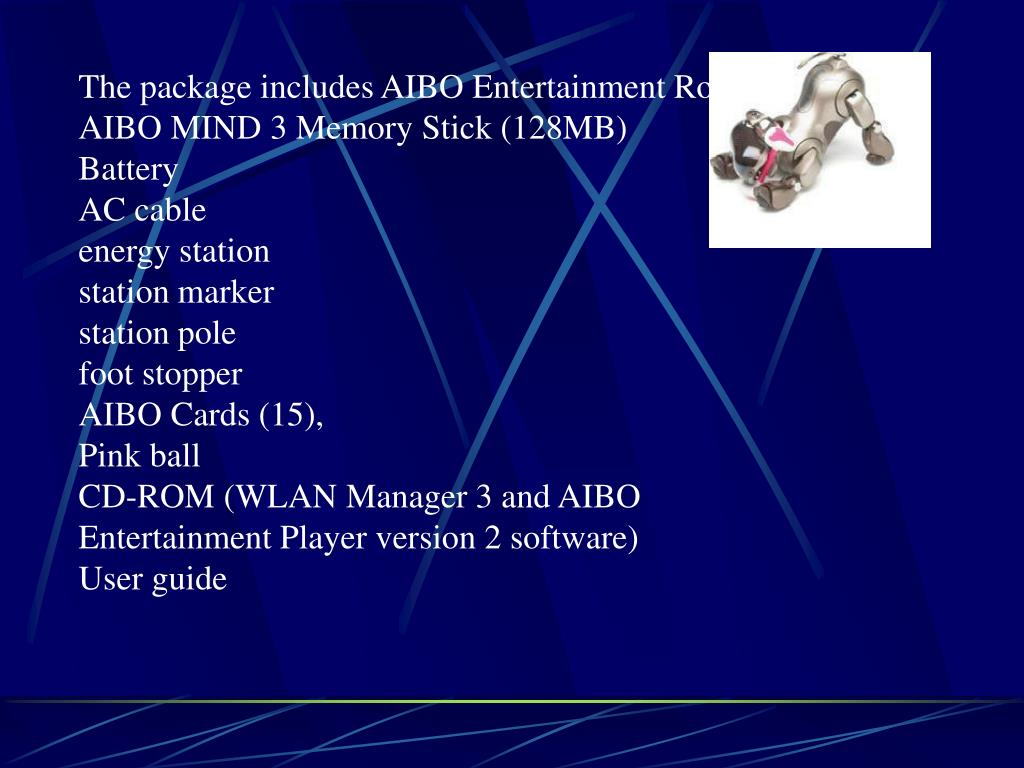 The package includes AIBO Entertainment Robot,