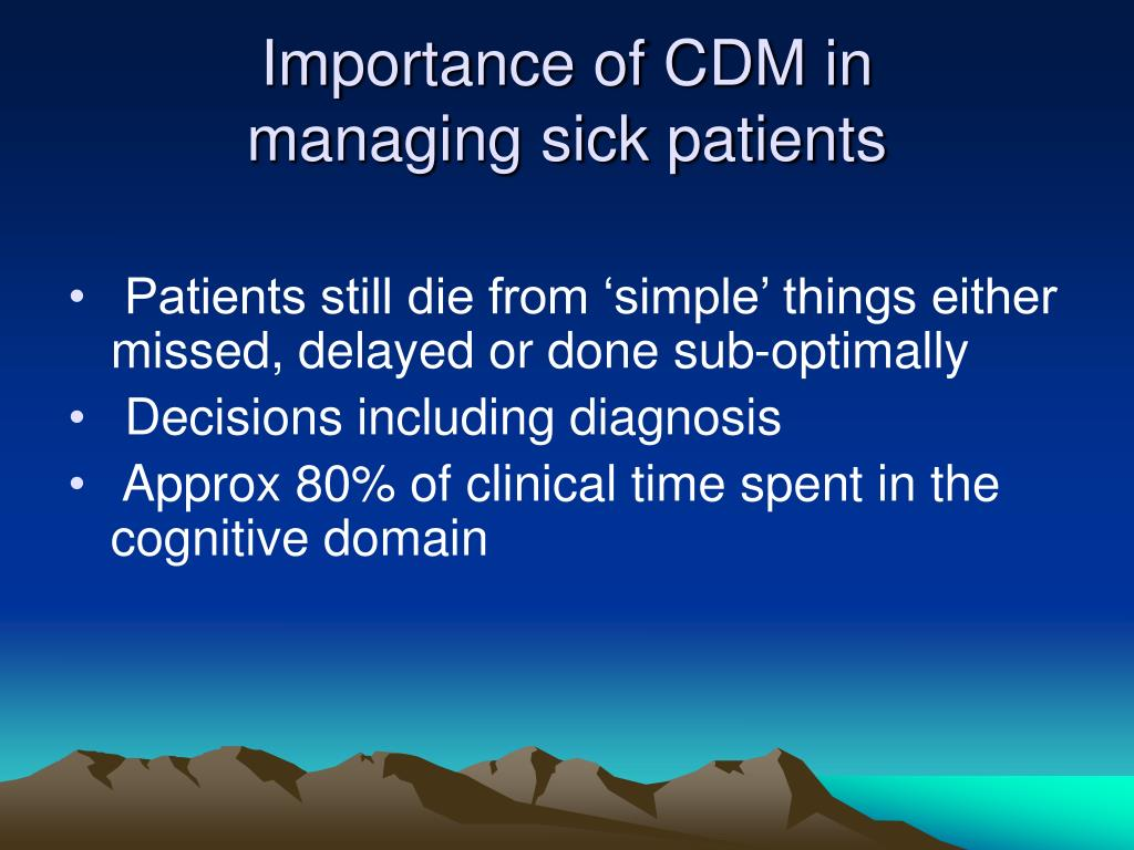 Importance of CDM in