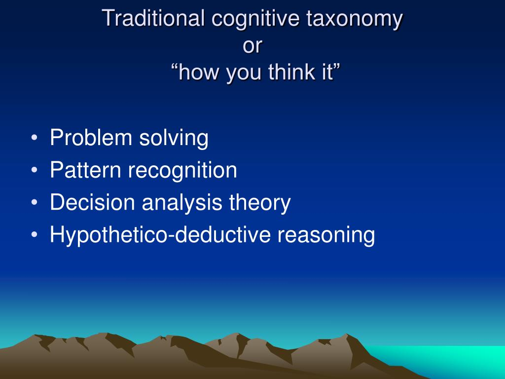 Traditional cognitive taxonomy