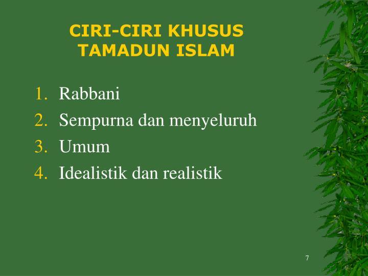 peta konsep ciri ciri tamadun islam dan huraian